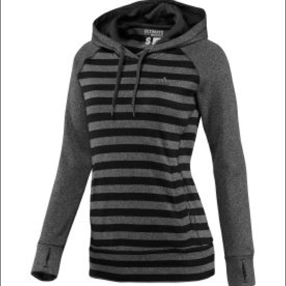 2f3c43e887e9 adidas Tops - Adidas Ultimate hoodie gray and black stripes